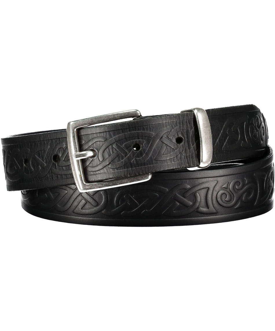 Teltin Celtic Belt - Black - [Lee River] - Leather Belts & Buckles - Irish Gifts