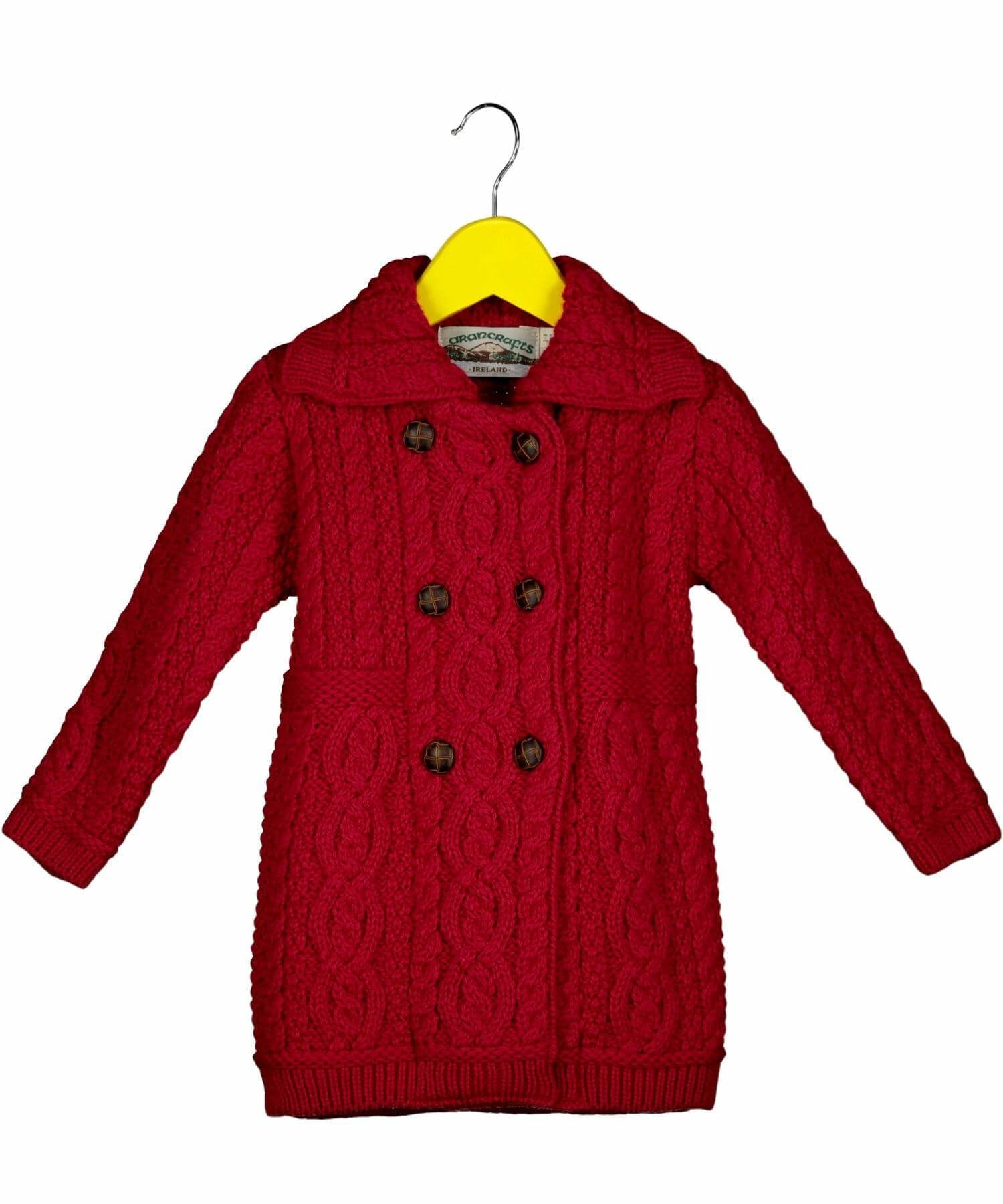 Kids Double Breasted Coat - Garnet - [Aran Crafts] - Childrens Sweaters & Cardigans - Irish Gifts