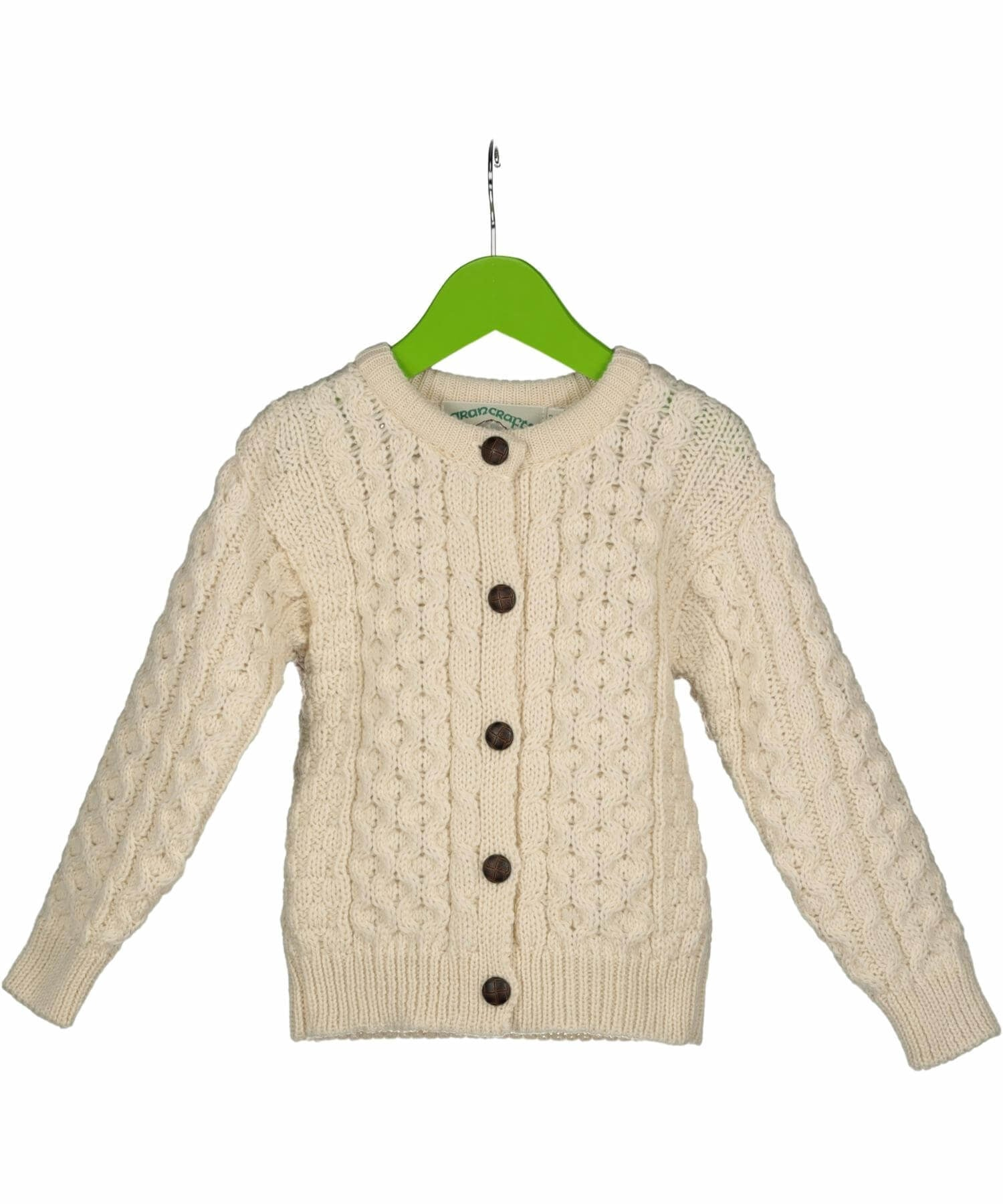 Kids Crew Neck Cardigan - Natural - [Aran Crafts] - Childrens Sweaters & Cardigans - Irish Gifts