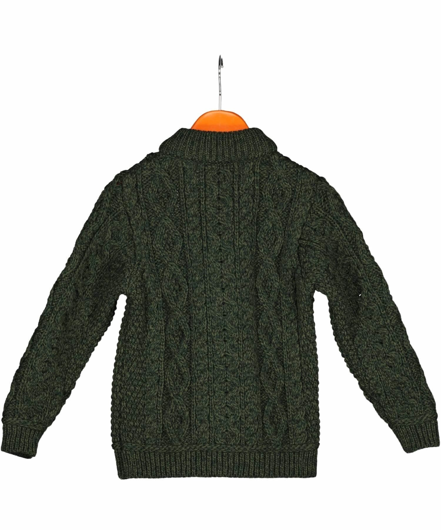 Kids Half Zip Sweater - Army Green - [Aran Crafts] - Childrens Sweaters & Cardigans - Irish Gifts