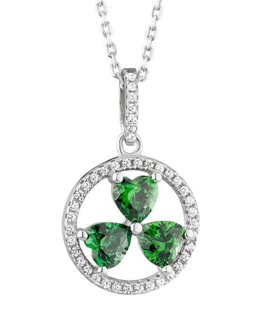 Shamrock Circle Pendant Solvar Celtic Jewellery