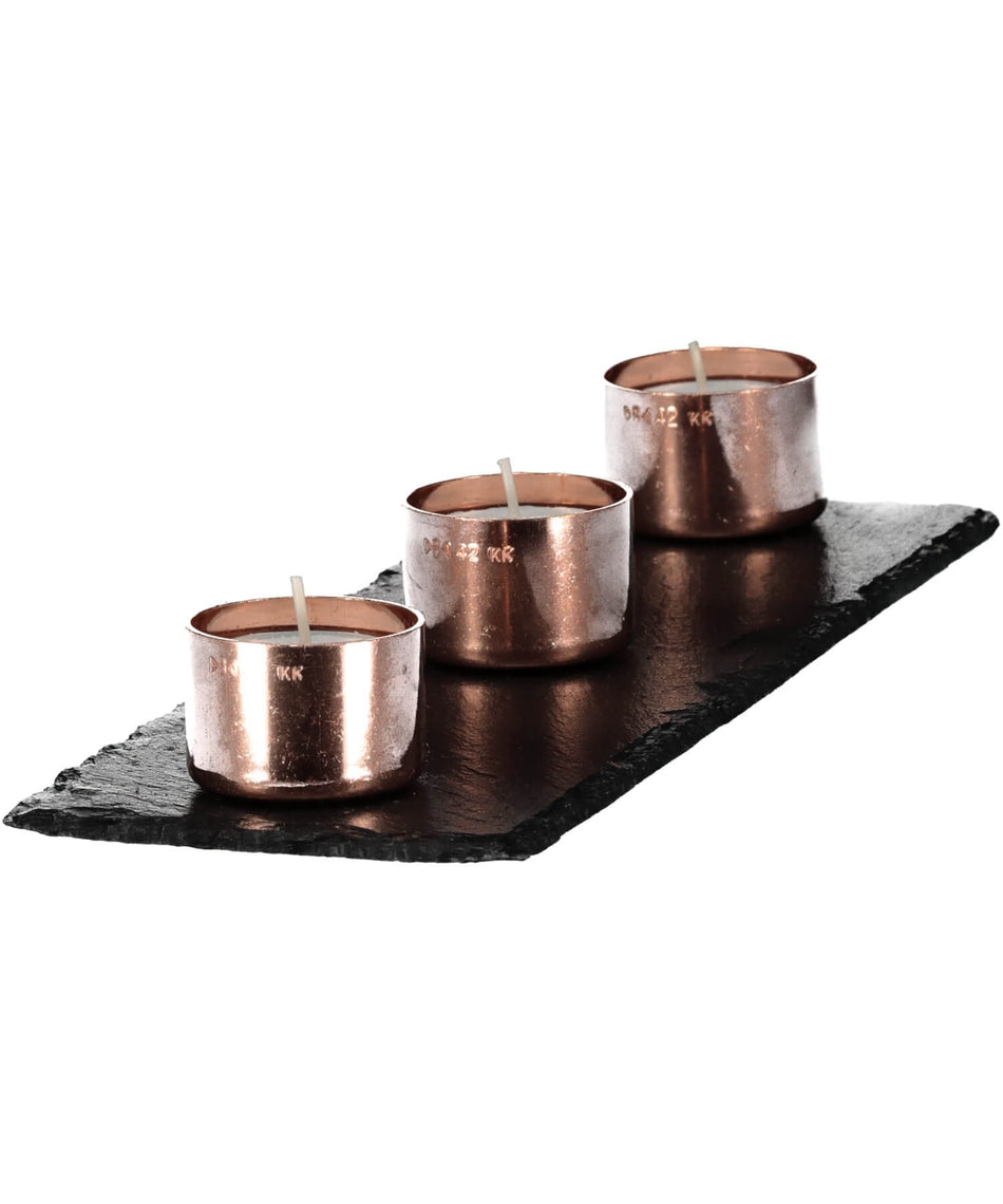 Copper Candle Trio - [Slated] - Wood & Slate - Irish Gifts