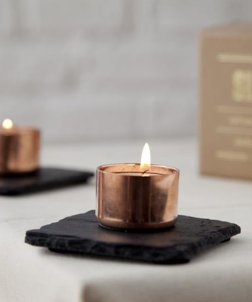 Square Copper Candle Slated Slate
