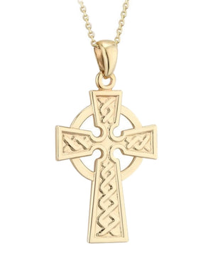 Gold Celtic Cross Pendant - [Solvar] - Jewellery - Irish Gifts