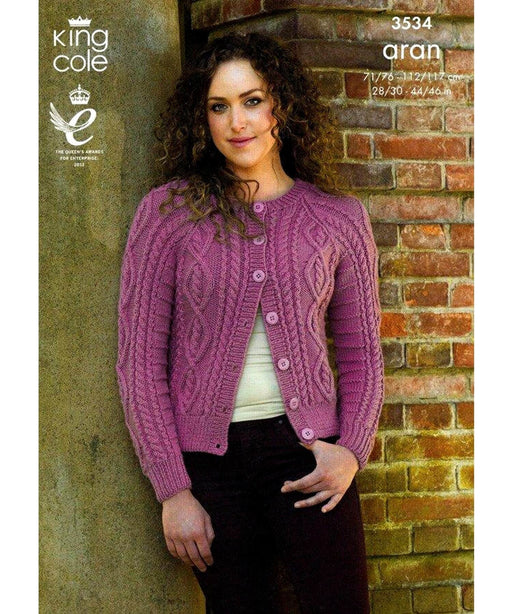 King Cole Aran Pattern 3534 Springwools Knitting