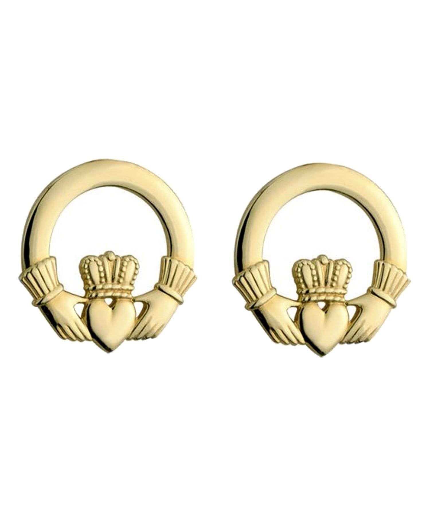Gold Claddagh Earrings Solvar Celtic Jewellery