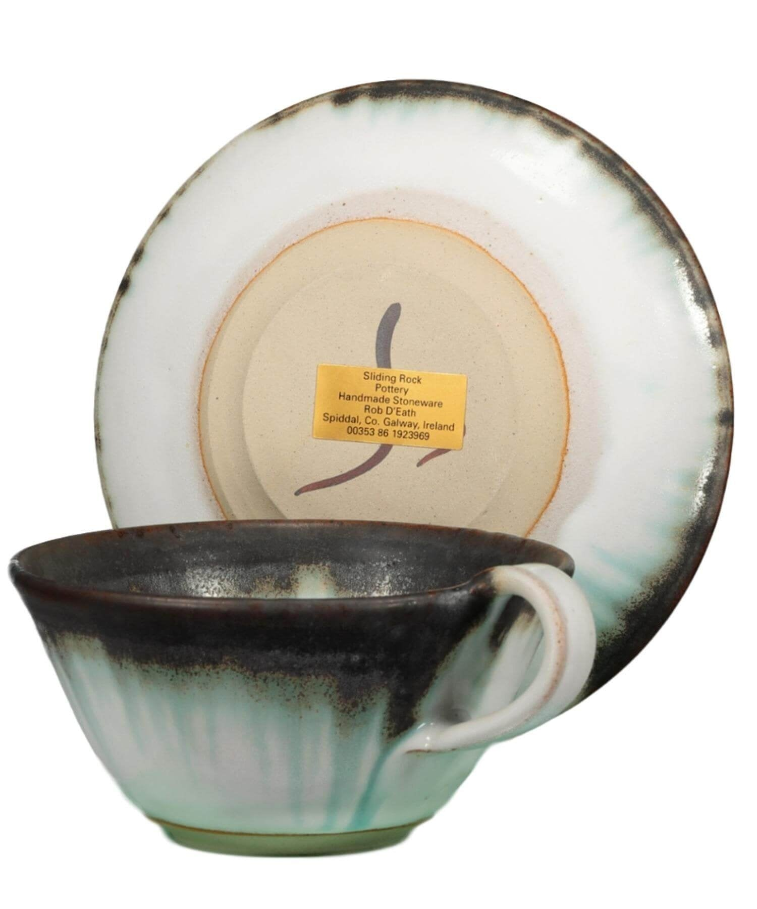 Cappuccino Cup & Saucer Set - [Sliding Rock] - Pottery & Ceramics - Irish Gifts