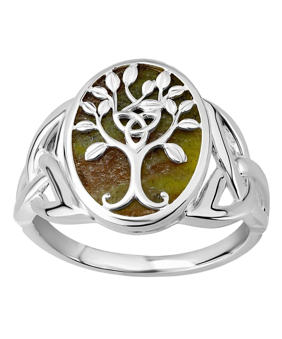 Connemara Marble Tree Of Life Ring - [Solvar] - Jewellery - Irish Gifts