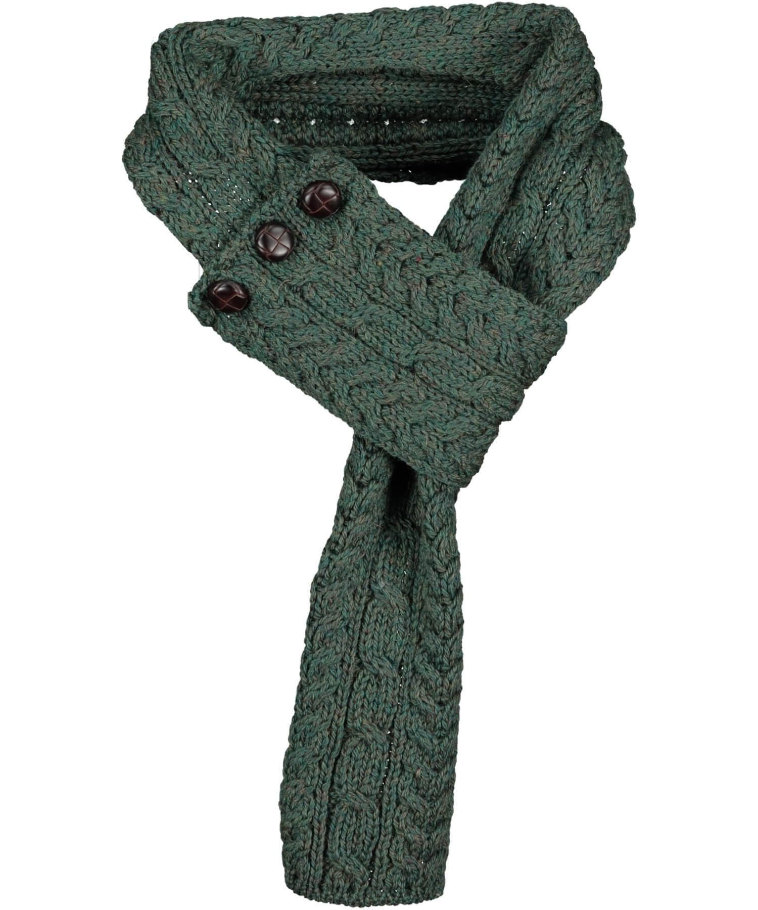 Buttoned Loop Scarf - Connemara Green - [Aran Woollen Mills] - Ladies Scarves & Gloves - Irish Gifts
