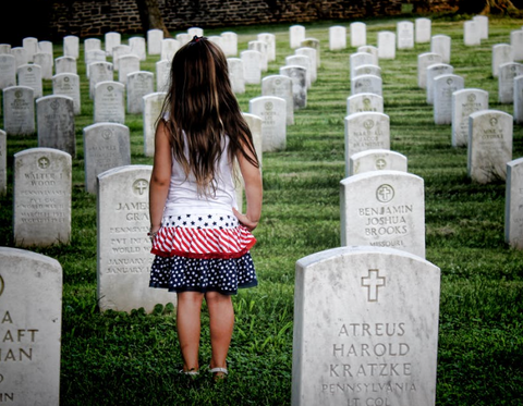 Memorial Day Child in Cemetery