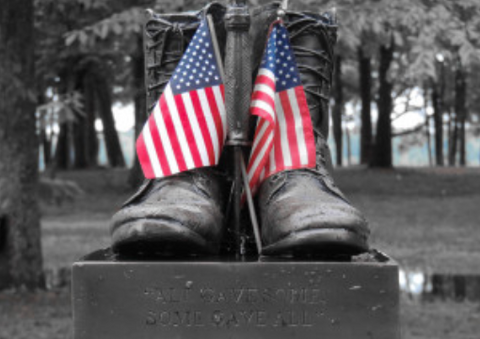 Memorial Day Boots with Crossed Flags