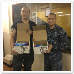 Sailors with care packages, care packs deployed, troops, Soldiers
