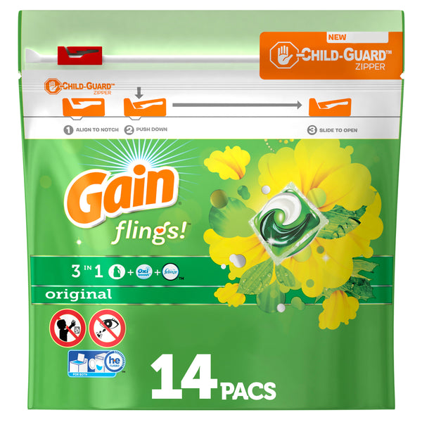 Gain flings! Liquid Laundry Detergent Packs, Original, 14 count