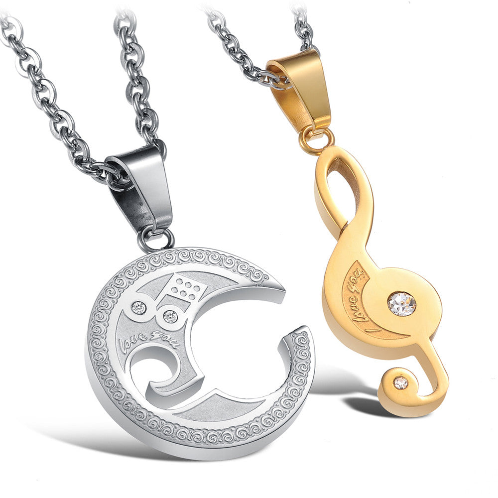 """I Love You"" Classic Music Necklace Set"