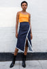 90s Vintage Stretch Denim Midi Skirt