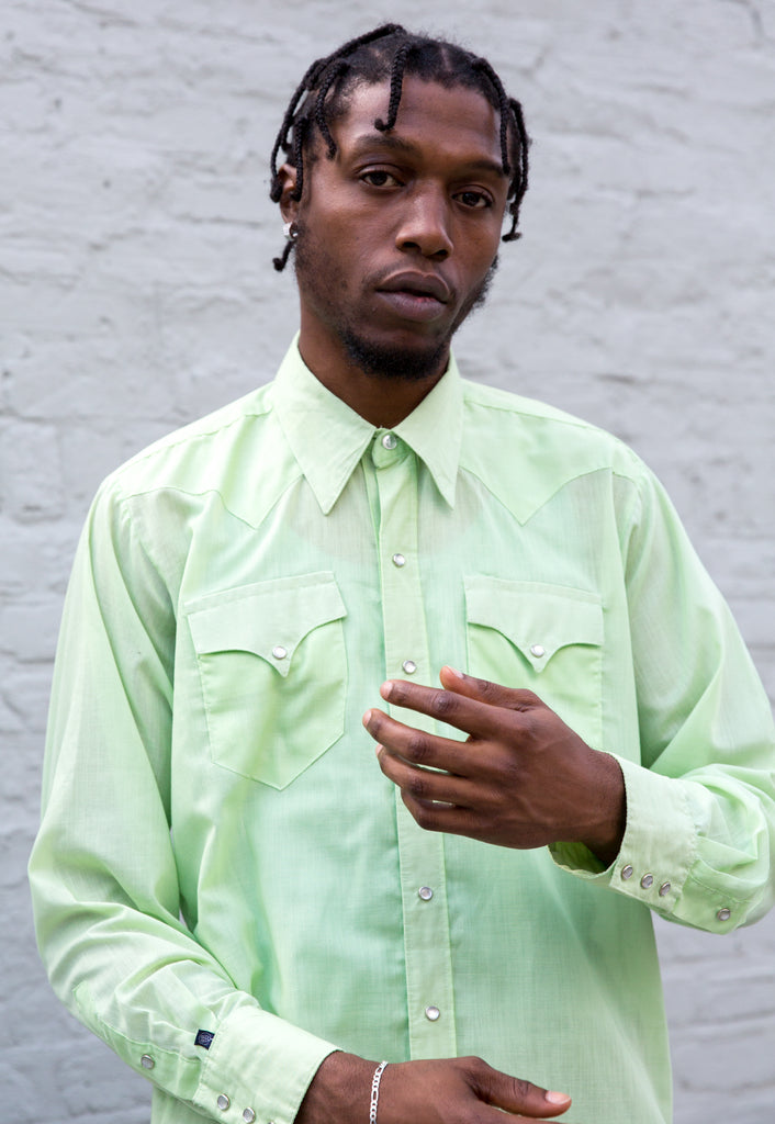 1970s Vintage Green Western Shirt