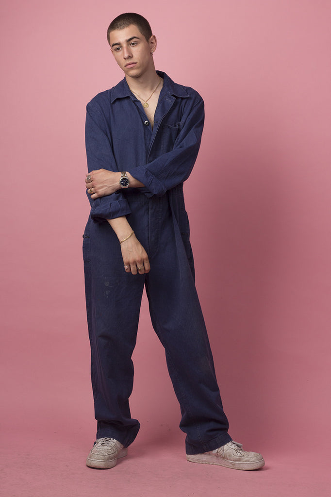 Blue Herring-Bone Twill Coverall with drawstring waist and a drawstring hem