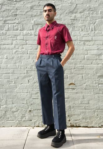 Unisex Blue and White Gingham Elasticated Waist Trousers