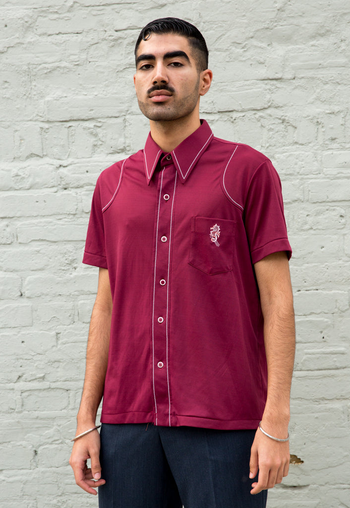1970s Vintage Maroon Polo Shirt