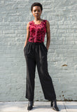 90s Vintage Slinky Black Trousers