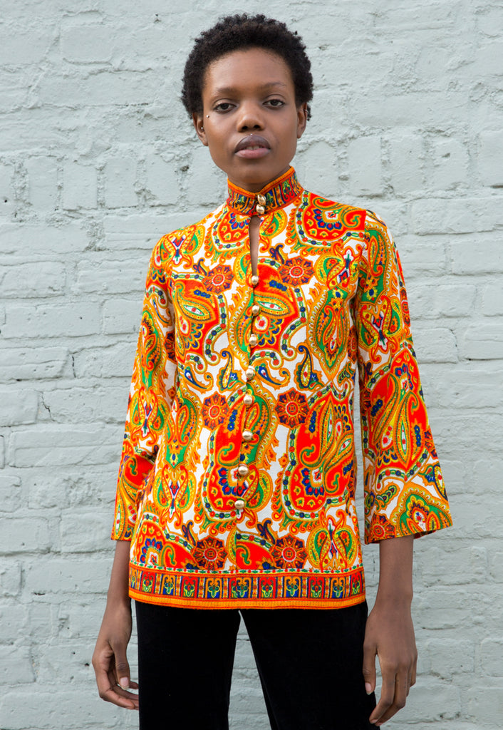 1960s Vintage Paisley Tunic Top