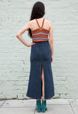 90s Vintage Stretchy Denim Maxi Skirt