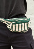 Vintage Green and Cream Stripe Bumbag