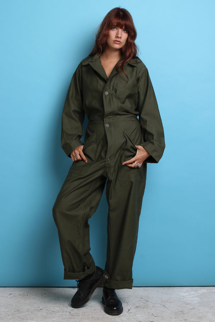 Khaki Military Button-UpJumpsuit