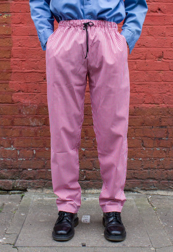 Unisex Red and White Gingham Elasticated Waist Trousers