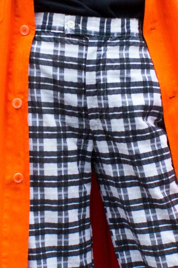1970s Vintage Black and White Plaid High Waisted Flared Trousers