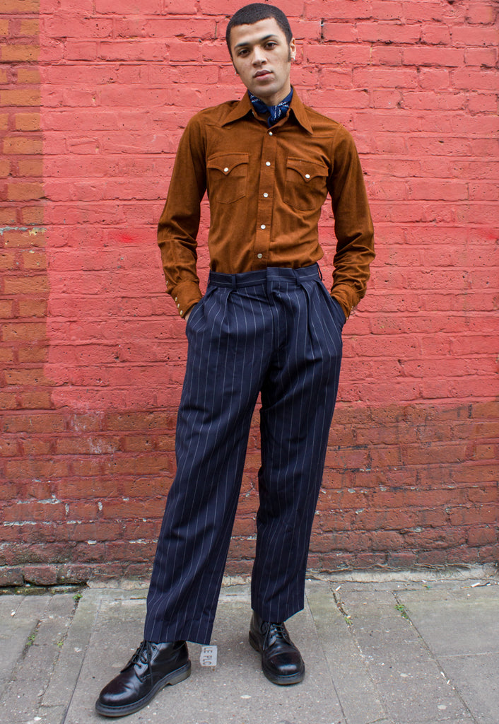 Vintage Polo by Ralph Lauren Navy Pinstripe Trousers