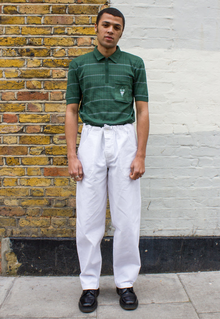 1970s Vintage Zip Front Green Striped Polo Shirt