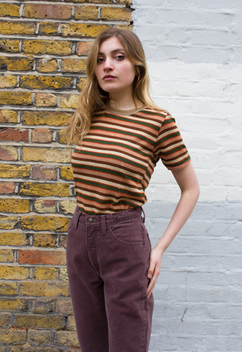 Deadstock 1970s Vintage Italian Striped Knit Top