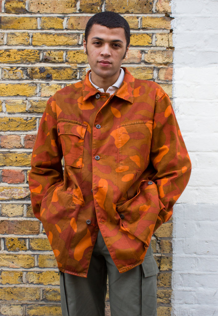 Camo Finnish Military Jacket in Orange Overdye
