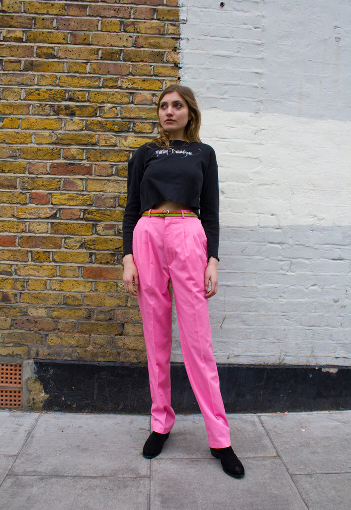 1990s Vintage Bubblegum Pink High Waisted Trousers