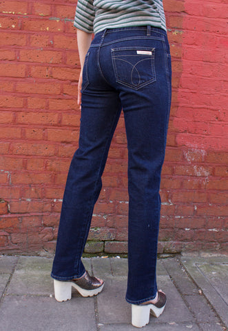 80s Orange Tab Acid Wash High Waisted Mum Jeans