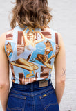 90s Vintage Pin Up Girl Print Tank Top