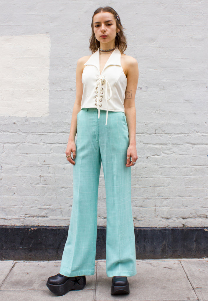 70s Vintage Mint Plaid Flares