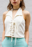 Vintage 90s Cream Halter Neck Corset Top