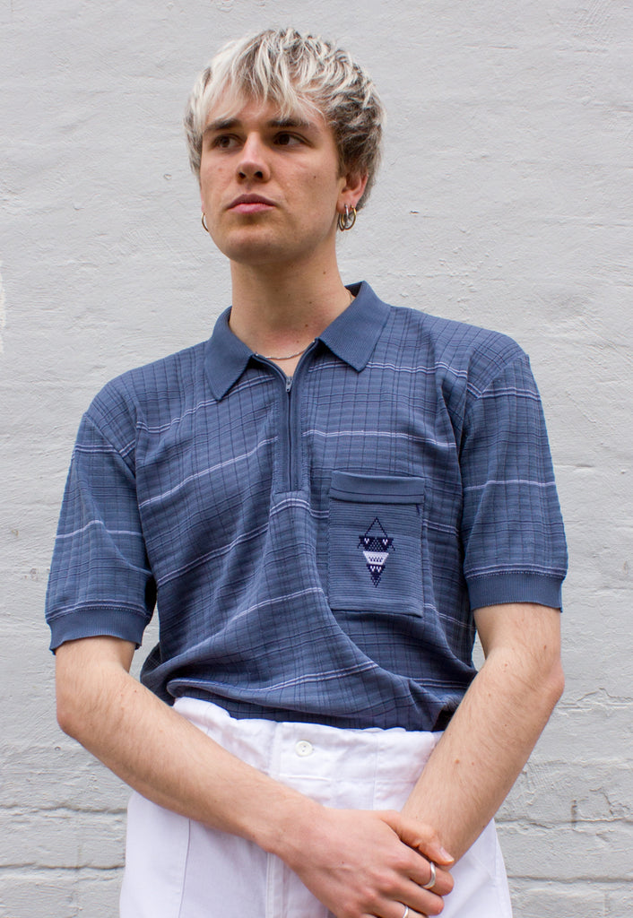1970s Vintage Blue Acrylic Knit Polo Shirt