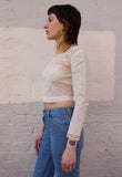 Vintage lace and cotton crop top in cream