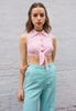 Vintage 90's Pink Ribbed Tie Front Crop Top