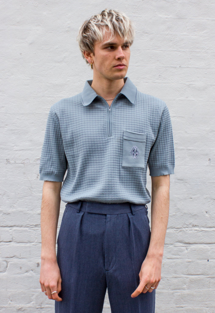 70s Vintage Acrylic Knit Polo Shirt