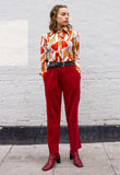 90s Velveteen Red High Waisted Trousers