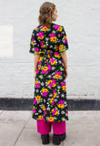 1970s Vintage Black Floral Print Wrap Dress