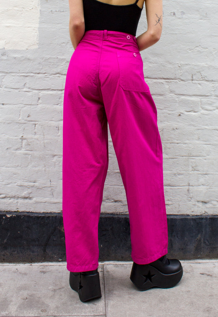Unisex Vintage Sailor Trouser in Pink Overdye