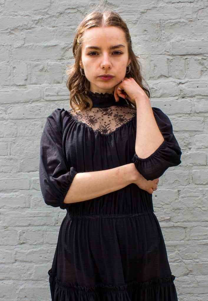 1970s/80s Vintage Black Gothic Prairie Dress