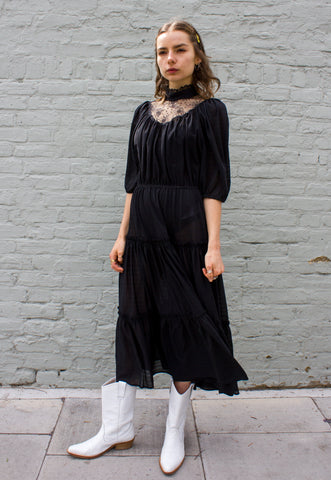 Vintage 70s Black Halterneck Dress