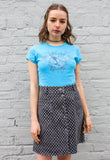 90s Vintage Patterned Denim Mini Skirt