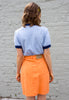 90s Vintage Peach Denim Mini Skirt